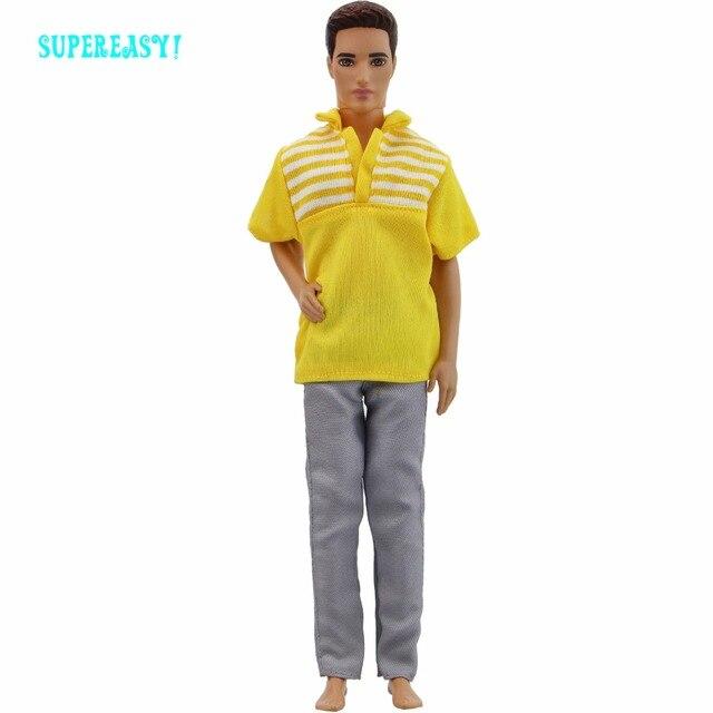 90be401d037 Tenue faite à la main décontracté quotidien porter jaune Cool Blouse rayure  chemise Jeans pantalon vêtements