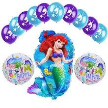 13 pçs/lote Sereia Balão Da Folha e 12 polegada Ariel da sereia kids brinquedos balões de Látex da Festa de Aniversário Da Menina dos Desenhos Animados de Hélio Ballon