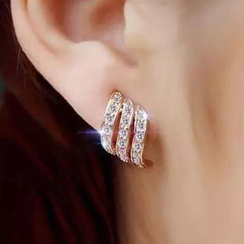 Fashion Gold Color Korean Style Simple Crystal Stud Earrings For Women Wedding Jewerly Bridal Engagement Earrings Female Gifts(China)