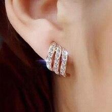 Модные серьги-гвоздики золотистого цвета в Корейском стиле с простым кристаллом для женщин, украшения для свадьбы, свадебные серьги для помолвки, женские подарки