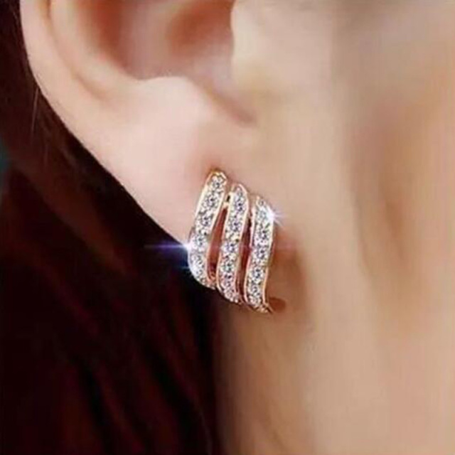 Korean Style Simple Crystal Stud Earrings
