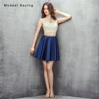 Sexy Illusion A line Short Crop Top Beaded Homecoming Dresses 2017 with Rhinestone Girls Mini 8th grade Prom Graduation Gowns