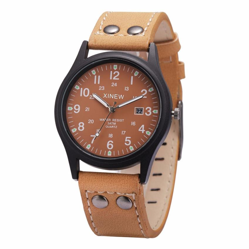 Hot 2017 Superior New Vintage Classic Men's Waterproof Date Leather Strap Sport Quartz Army Watch relogio masculino Hot Dropship new forcummins insite date unlock proramm