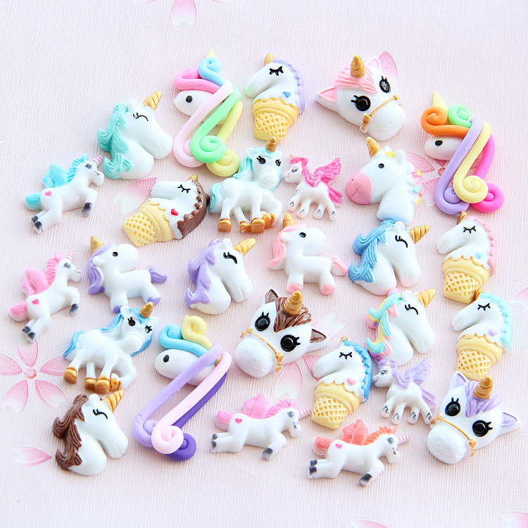Dependable 8pcs/lot Mini Diy Resin Unicorn Filler Clear Slime Accessories Supply For Kids Unicorn Doll Figure Model Toy Decoration Packing Of Nominated Brand Modeling Clay