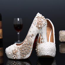 Crystal wedding shoes pearl handmade bridal shoes peacock rhinestone white female high heels platform shoes big size