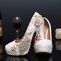 Sapatos de noiva sapatos de casamento sapatos de cristal pérola handmade strass pavão branco feminino sapatos de salto alto sapatos de plataforma tamanho grande