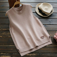 Autumn Winter Casual Sweet Simple Sleeveless Sweater Women Solid Round Neck Knitting Vestidos Femininos Vest Sweater U619