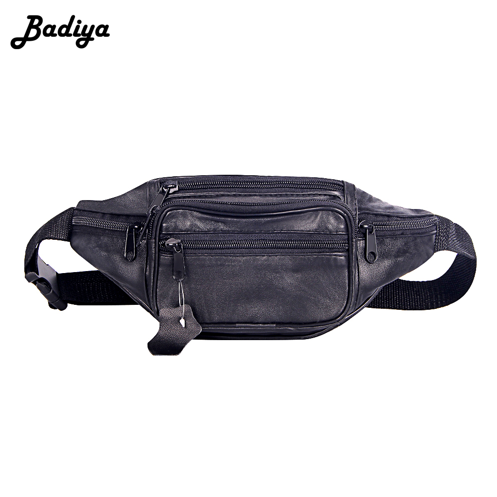 Fashion Men Genuine Leather Waist Bag Multi-pocket and Multiple Zipper Belt Bag Adjustable Belt Fanny Pack Shopping Phone Bags(China)