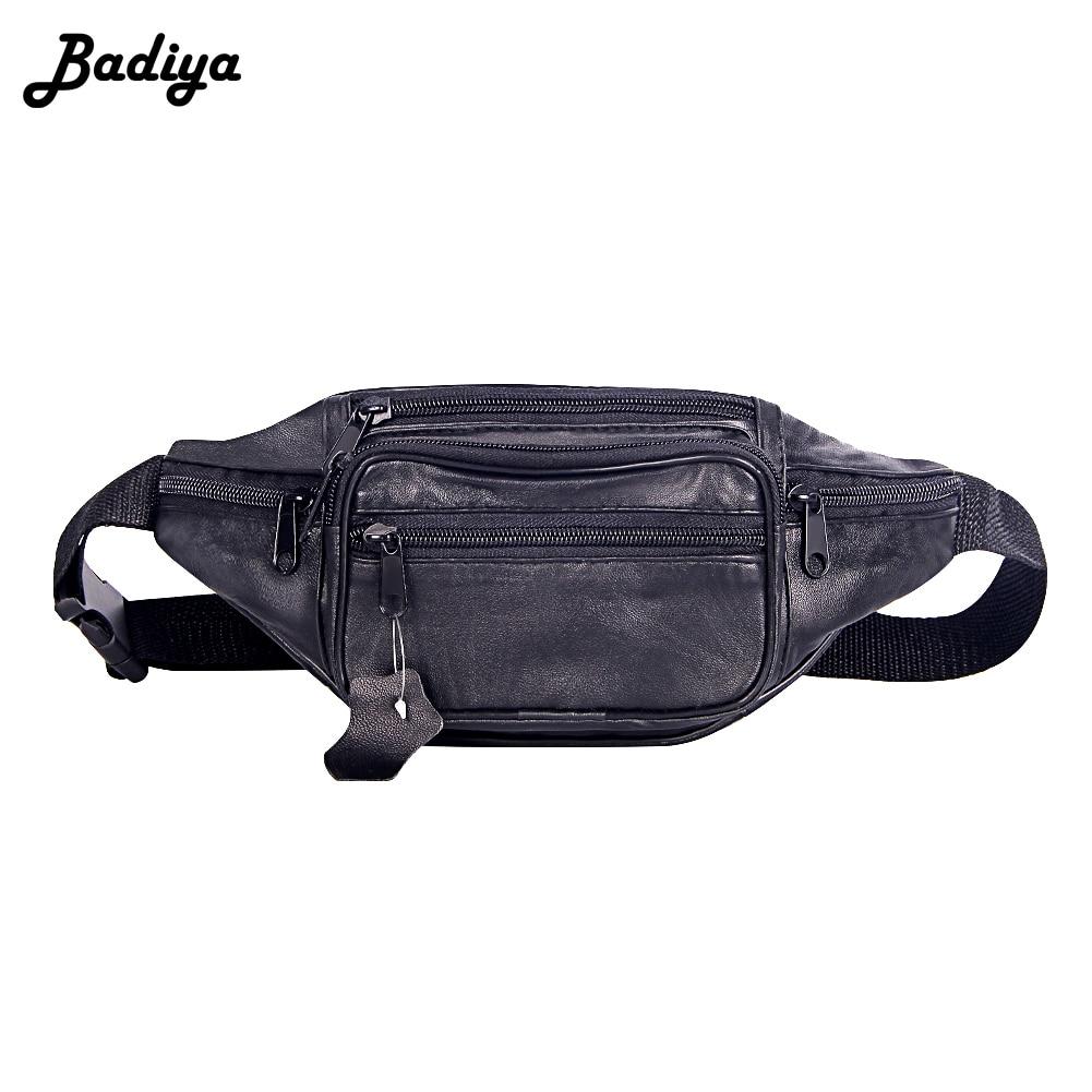 Fashion Men Genuine Leather Waist Bag Multi-pocket And Multiple Zipper Belt Bag Adjustable Belt Fanny Pack Shopping Phone Bags
