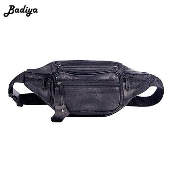 e05644364e2f Модные Для мужчин Натуральная кожа поясная сумка мульти-карман и ...
