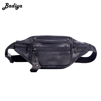 Fashion Men Genuine Leather Waist Bag Multi-pocket And Multiple Zipper Belt Bag Adjustable Belt Fanny Pack Shopping Phone Bags