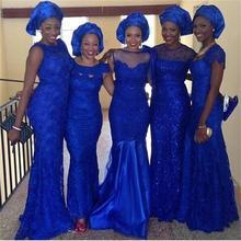 2016 Amazing Royal Blue Bridesmaid Dresses Lace Mermaid Floor-Length Custom Made Robe Demoiselle D'honneur  Vestidos De Festa