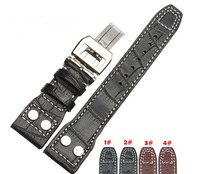 22mm Black Genuine Leather Rivet Watch Band Strap Deployment For BRAND Big Pilot Free Shipping