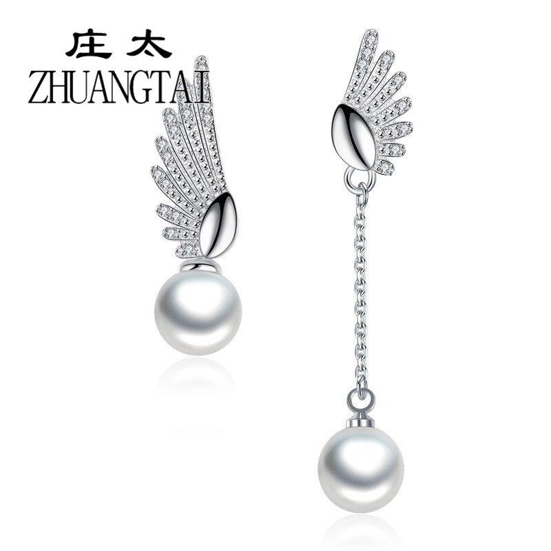 Fashion Angel Wings 8MM Artificial Pearl Earrings For Women Korean Fashion Wedding Indian Cubic Zirconia Tassel Earring Jewelry drop earrings crystal drop shaped earringsearrings crystal drop - AliExpress