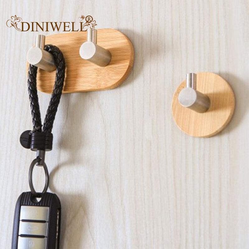Natural Bamboo Stainless Steel Hook Organizer For Clothes Bag Headphone Key Kitchen Bathroom Door Towel Rustproof Shelf