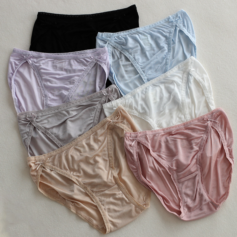 100/% Natural Silk Knitted Briefs Panty Knickers Soft Shorts Underwear Women Cosy
