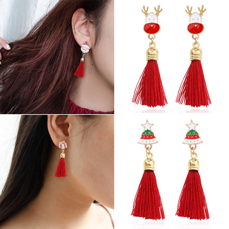 Fashion Christmas Stud Earring Santa Claus Gift Box Christmas Tree Elk Antlers Star Crystal Tassel Earrings Women Christmas Gift