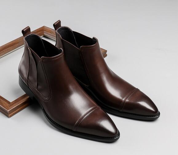 En Hiver Martin top Nouveau Cuir Pic Bottes Chaussures Haute Hommes De Bout Casual chocolat As Pointu Mode xffIUr