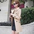 2016 Осень Британский стиль Женщины Пальто Мода Тонкий Твердые Двойной Брестед Галстуки на средние и длинные ветровки женский Пальто Пыли