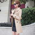 2016 Autumn British style Women's Trench Coat Fashion Slim Solid Double Breasted Ties medium-long wind-breaker Female Dust Coats
