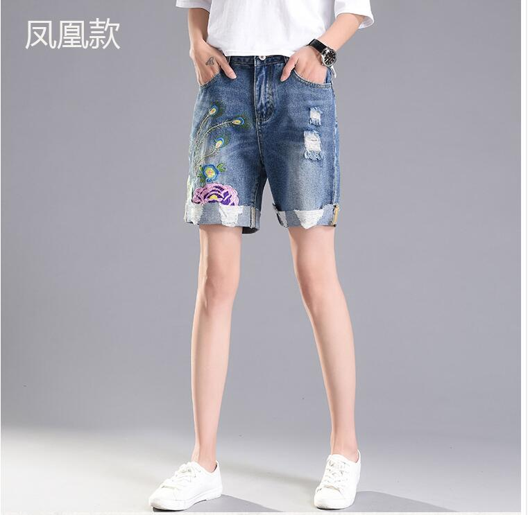 The hole denim shorts 2017 female Korean summer leisure loose big size flower embroidery flanging straight jeans women