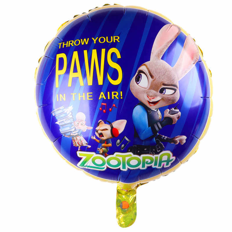 Zootopia Design Foil Balloons Helium Judy Nick Birthday Balloon Party Supplies Toys Rabbit Fox Captian Baloes