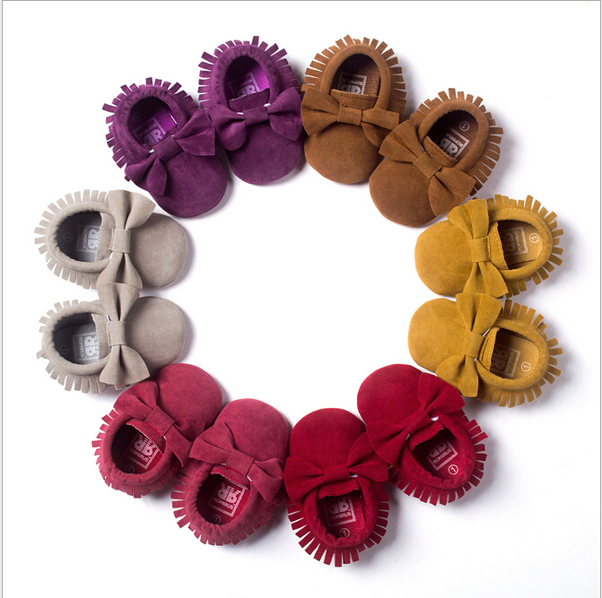 Infant Toddler PU Suede Leather Newborn Baby Moccasins Soft Shoes Soft Soled Non-slip Crib First Walker 0-18 Month Girl Boy Shoe