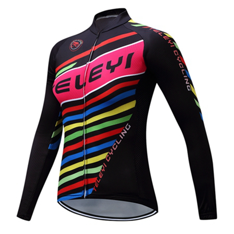 Teleyi 2018 Spring/Autumn Womens Long Sleeve Cycling Jersey 100% Polyester Riding Outdoor Sports Bike Clothing Ropa Ciclismo