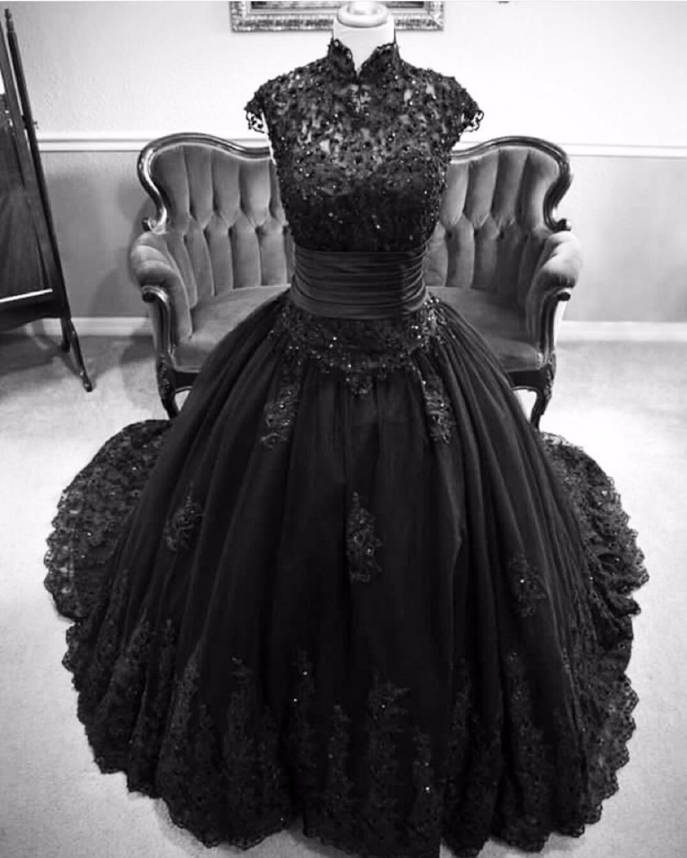 2016 Black Wedding Dress Cap Sleeve Appliques Floor Length