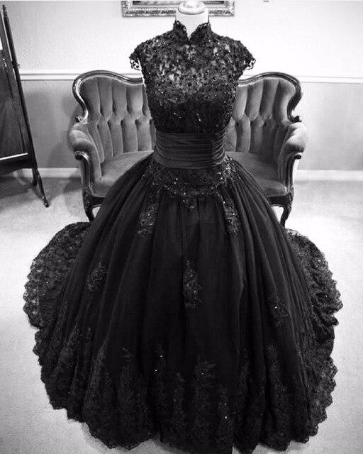 2016 Siyah Gelinlik Cap Sleeve Aplikler Kat Uzunluk Sayısı Tren İnciler Gotik Gelin Törenlerinde robe de mariage Yüksek Kalite