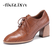 купить AIKELINYU Brand New Women High Heels Autumn Pumps Gingham Genuine Leather Prom Party Shoes Woman Basic Office Pumps Casual Shoes дешево