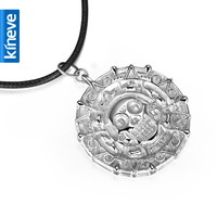 Kineve 925 Silver Necklace Pirates of the Caribbean Aztec Coin Silver Pendant Necklace Free With Chain costume jewellery