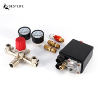 Heavy Duty 120PSI Air Compressor Pressure Control Switch Manifold Valve Regulator Gauge Compressor With Pressure Monitor