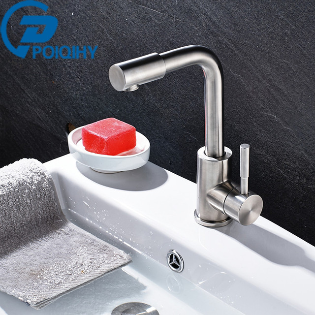 POIQIHY Basin Faucet Nickel Brushed Single Handle Mixer Tap Deck Mounted  Ceramic Plate Spool Stainless Basin