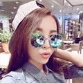 Redondo Grande de la vendimia gafas de Sol de Espejo 2016 de Marca de alta de Las Mujeres gafas de Sol de Metal Gafas Mujer gafas de sol feminino 041