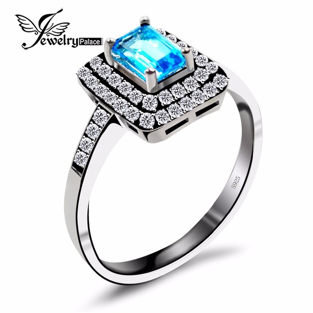genuine natural blue topaz engagement wedding ring for women solid 925 sterling silver halo ring square - Blue Topaz Wedding Rings
