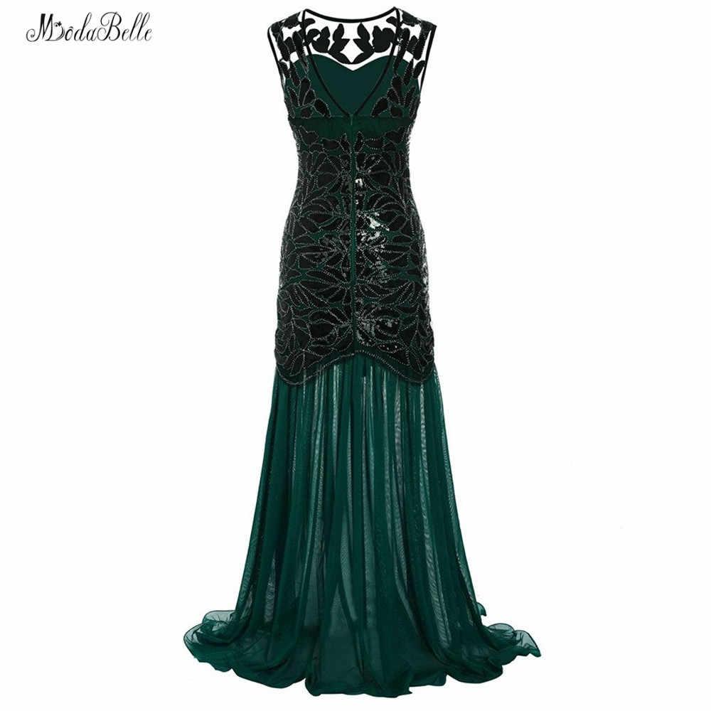 modabelle Chiffon Dark Green Gold Evening Dresses Abendkleid Lang Scoop  Sequins Mermaid Evening Dress Black Vestito Lungo