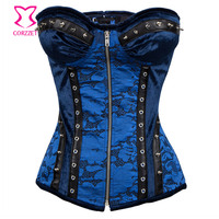 Blue Rivet Zipper Steel Boned Overbust Corset Sexy Korsett For Women Steampunk Clothing Corselet Corsets And Bustiers Gothic