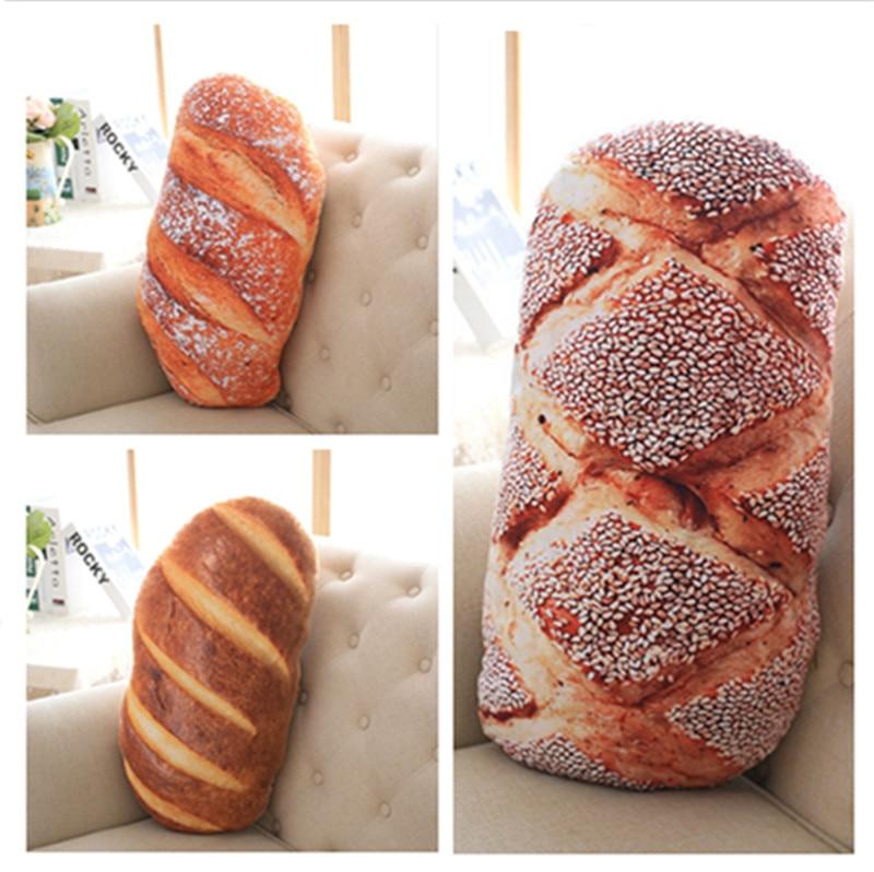 50cm 70cm 2 kinds Creative Bread Pattern Pillow Funny Soft Massage Neck Pillow PP Cotton Filler Cervical Health Care Pillow