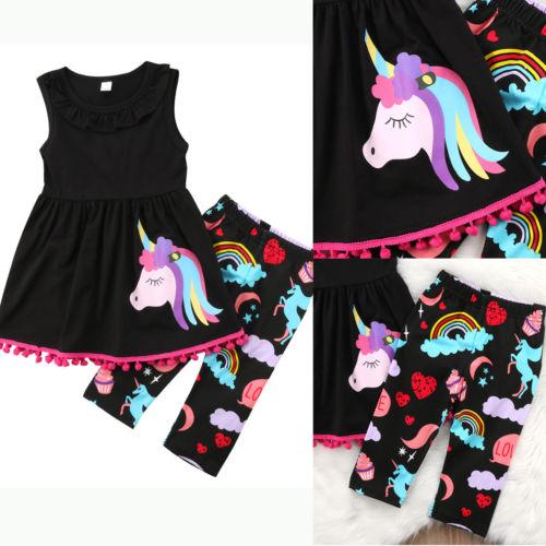 2 Stücke Unicorn Kids Baby Mädchen Kleidung Set Quaste Sleeveless Tops Kleid + Muster Hosen Outfit Kleidung Set GroßE Auswahl;
