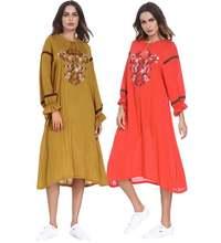 Платье Макси женское с длинным рукавом мусульманский хиджаб