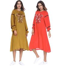 Muslim women Long sleeve hijab Dress maxi abaya jalabiya islamic dress clothing robe kaftan Moroccan fashion embroidey lon