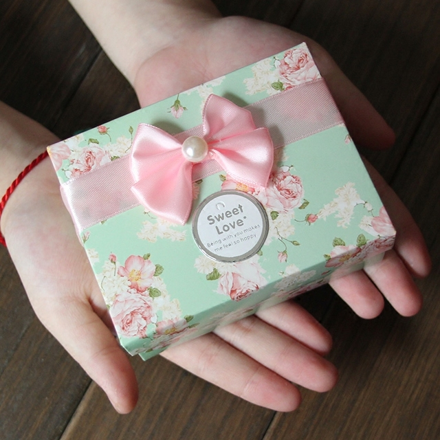 80*105*45mm 3Pcs Big Floral Bow Wedding Candy Chocolate Cookie Printed Packaging Paper Box