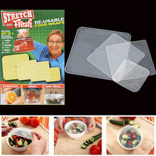 4pcs Food Fresh Keeping Saran Wrap Kitchen Tools Reusable Silicone Wraps Seal Vacuum Cover Stretch Lid Accessories