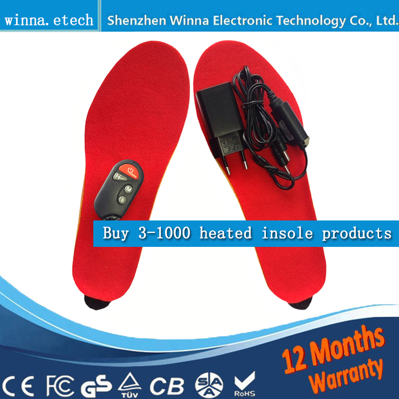 NEW Winter Electric Heated Insole for women men Shoes Boots Pad With Remote Control black Foam Material 1800MAH Factory selling