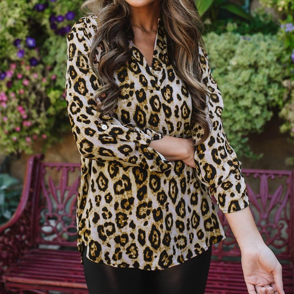 Fashion Women's Long Sleeve V-neck Chiffon Leopard Print Pullover Tops Chiffon leopard top