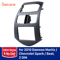 Seicane OEM Dashboard Trim Panel Kit 2 DIN Car Stereo Frame DVD Radio Fascia for Daewoo Martiz Chevrolet Spark Beat no gap black