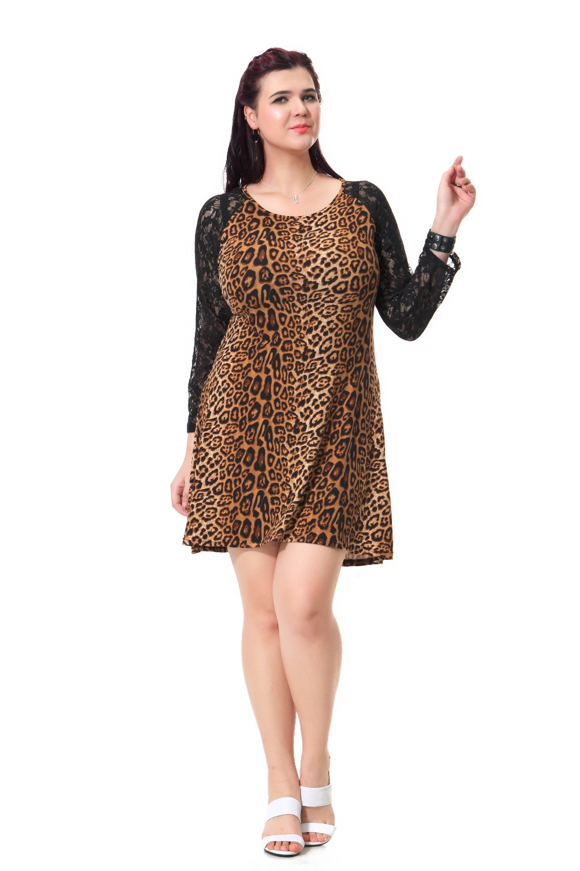 Plus Size Casual Dress Women Sexy Leopard Print Dresses Cotton Loose