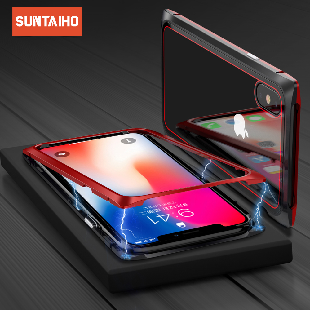 Suntaiho for iphone x Case Magnetic Adsorption Case for iPhoneXS X 8 Plus 7 6S + Metal Tempered Glass Back Cover