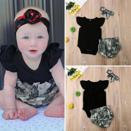 Newborn Infant Toddler Baby Girl Black Tops Bodysuit+Camo Shorts Pants+Bow Headhand Summer Clothes